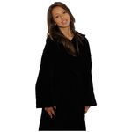 Kid's Velour Hooded Robe - Black 100% Cotton Terry Cloth Inside & Velour Outside (2KVXXBK)