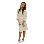 Kid's Waffle Hooded Robe - Beige 100% Cotton Waffle Cloth Inside & Outside (2KWXXBG)