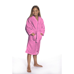 Kid's Waffle Hooded Robe - Pink 100% Cotton Waffle Cloth Inside & Outside (2KWXXPI)