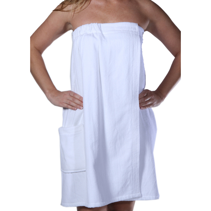 c7100c6b2657 Women's Terry Velour Spa Body Wrap Towels with Pocket - White 100% Cotton  Terry Cloth Inside ...