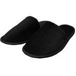 Unisex Closed Toe Terry Velour Slippers - Black 100% Cotton Terry Velour (3TV20BK)
