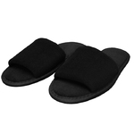 Unisex Open Toe Terry Velour Slippers - Black 100% Cotton Terry Velour (3TV10BK)