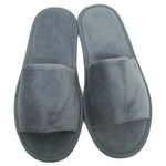 Unisex Open Toe Terry Velour Slippers - Cool Gray 100% Cotton Terry Velour (3TV10CG)