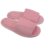 Unisex Open Toe Terry Velour Slippers - Pink 100% Cotton Terry Velour (3TV10PI)