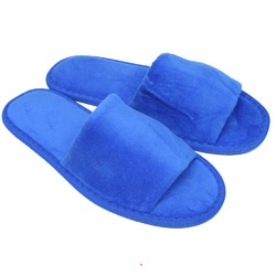 Unisex Open Toe Terry Velour Slippers - Royal Blue 100% Cotton Terry Velour (3TV10RY)