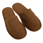 Unisex Closed Toe Waffle Slippers - Brown 65% Natural Cotton and 35% Polyester (3WF20BR)