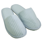 Unisex Closed Toe Waffle Slippers - Sky Blue 65% Natural Cotton and 35% Polyester (3WF20SB)