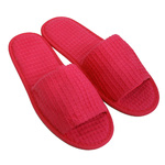 Unisex Open Toe Waffle Slippers - Fuchsia 65% Natural Cotton and 35% Polyester (3WF10FC)
