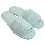 Unisex Open Toe Waffle Slippers - Sky Blue 65% Natural Cotton and 35% Polyester (3WF10SB)
