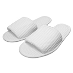 Unisex Open Toe Waffle Slippers - White 65% Natural Cotton and 35% Polyester (3WF10WH)