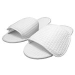 Unisex Open Toe Waffle Velcro Slippers - White Top Quality Natural Cotton Waffle Cloth (3VW10WH)