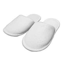 Kid's Closed Toe Terry Velour Slippers - White 100% Absorbent Top Quality Natural Cotton (3KV2XWH)