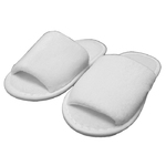 Kid's Open Toe Terry Velour Slippers - White 100% Absorbent Top Quality Natural Cotton (3KV1XWH)