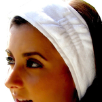 Terry Velour Headbands With Velcro - White 100% Cotton Terry Velour 1 Dozen (5HB10WH)