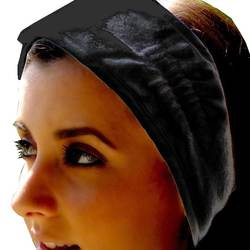 Terry Velour Headbands With Velcro - Black 100% Cotton Terry Velour 1 Dozen (5HB10BK)