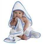 "Hooded Baby Towel Blue Piping - 30"" X 30"" 100% Soft Cotton Terry Cloth (7BT10BL)"
