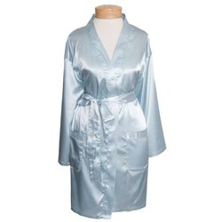"Women's Short Satin Kimono Robe - Light Blue 36"" Long (11STXXSB)"