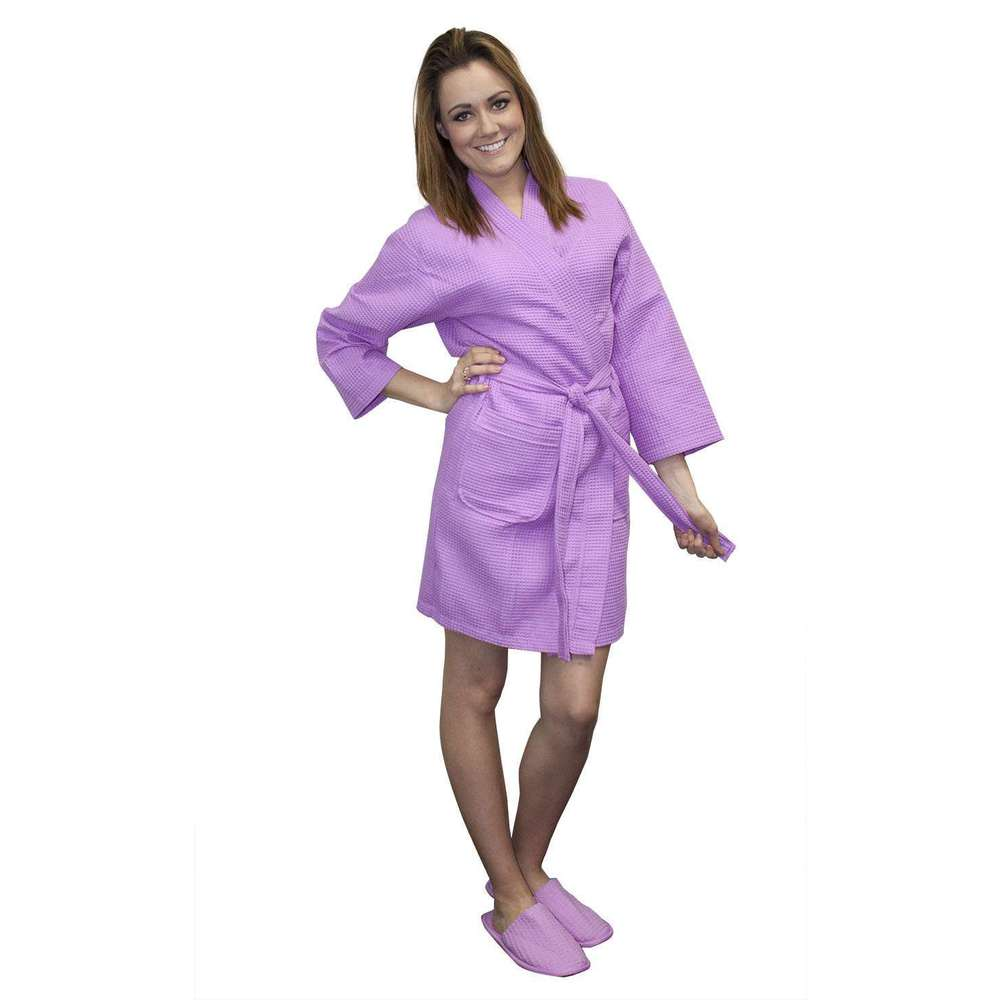 4f44cab794 Women s Thigh Length Waffle Weave Kimono Robe - Lilac (TL5096LL) · View  Larger Photo Email ...