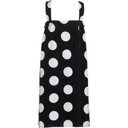 Polka Dot Terry Bath Wraps with Shoulder Straps for Girls - Sizes for Ages 4-7 and 8-12 Black (KPW51XBK)