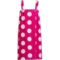 Polka Dot Terry Bath Wraps with Shoulder Straps for Girls - Sizes for Ages 4-7 and 8-12 Fuchsia (KPW52XFH)