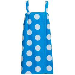 Polka Dot Terry Bath Wraps with Shoulder Straps for Girls - Sizes for Ages 4-7 and 8-12 Aqua (KPW50XAQ)