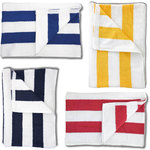 "Cabana Striped Pool Towels - 33"" x 62"" - 100% Cotton Loop Terry 1 Dozen - Available in Royal Blue Red Yellow or Navy Blue Stripes (TC50X0XX x 12)"