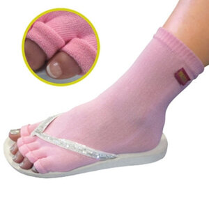 Pedisavers Individual Toe Pedicure Socks Pink Anklet (PediSavers-APK-001)