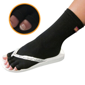 Pedisavers Individual Toe Pedicure Socks Black Anklet (PediSavers-ABK-002)