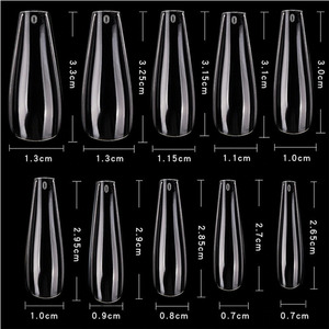 Cre8tion Nail Tips - #06 Coffin - Clear Divider Box of 600 Pieces (22403 15166)