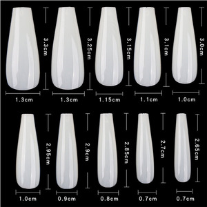 Cre8tion Nail Tips - #06 Coffin - Natural Divider Box of 600 Pieces (22404 15167)