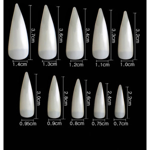 Cre8tion Nail Tips - #09 Super Curve Stiletto - Natural Divider Box of 500 Pieces (22412 15173)