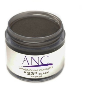 ANC Dip Powder - Black #33 2 oz. - part of the ANC Acrylic Nails Dipping System (ANCCP033)