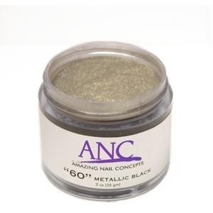ANC Dip Powder - Metallic Black #60 2 oz. - part of the ANC Acrylic Nails Dipping System (ANCCP060)