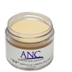 ANC Dip Powder - Metallic Lemon Yellow #53 2 oz. - part of the ANC Acrylic Nails Dipping System (ANCCP053)