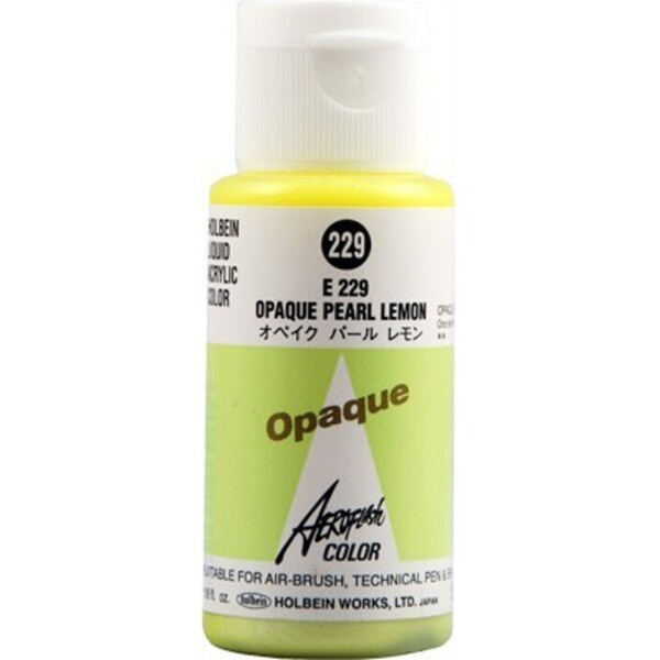 Aeroflash Liquid Acrylic Airbrush Nail Color - OPAQUE PEARL LEMON #229 1.18 oz. (4900669062295)