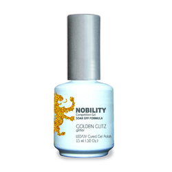 Nobility Color LEDUV Cured Gel Polish - Golden Glitz 0.5 oz (NBGP67)