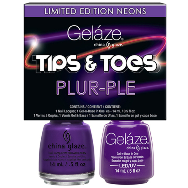 Gelaze - Gel & Matched Lacquer - Tips n' Toes - Electric Nights Collection - Tips n' Toes - PLUR-PLE 0.5 oz. Each (82673)