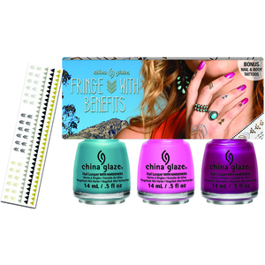 China Glaze Lacquer - Desert Escape Collection - FRINGE WITH BENEFITS WITH FREE TEMPORARY TATTOOS 3 Piece Kit (82656)