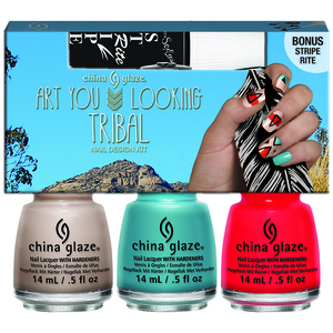 China Glaze Lacquer - Desert Escape Collection - YOU LOOKING TRIBAL NAIL DESIGN KIT WITH ISE STRIPE RITE BLACK 3 Piece Kit (82655)