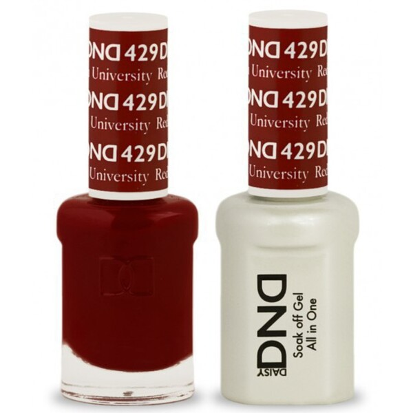 DND Duo GEL Pack - BOSTON UNIVERSITY RED 1 Gel Polish 0.47 oz. + 1 Lacquer 0.47 oz. in Matching Color (DND-G429)