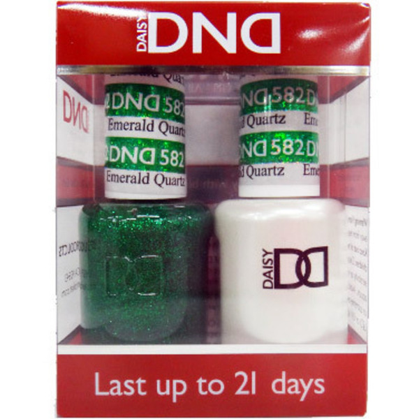 DND Duo GEL Pack - EMERALD QUARTZ 1 Gel Polish 0.47 oz. + 1 Lacquer 0.47 oz. in Matching Color (DND-G582)