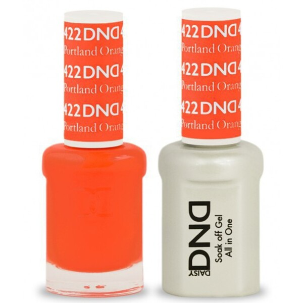DND Duo GEL Pack - PORTLAND ORANGE 1 Gel Polish 0.47 oz. + 1 Lacquer 0.47 oz. in Matching Color (DND-G422)