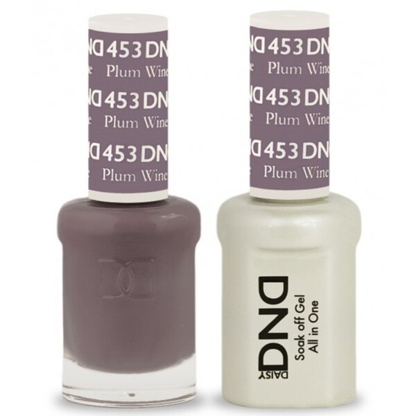 DND Duo GEL Pack - PLUM WINE 1 Gel Polish 0.47 oz. + 1 Lacquer 0.47 oz. in Matching Color (DND-G453)
