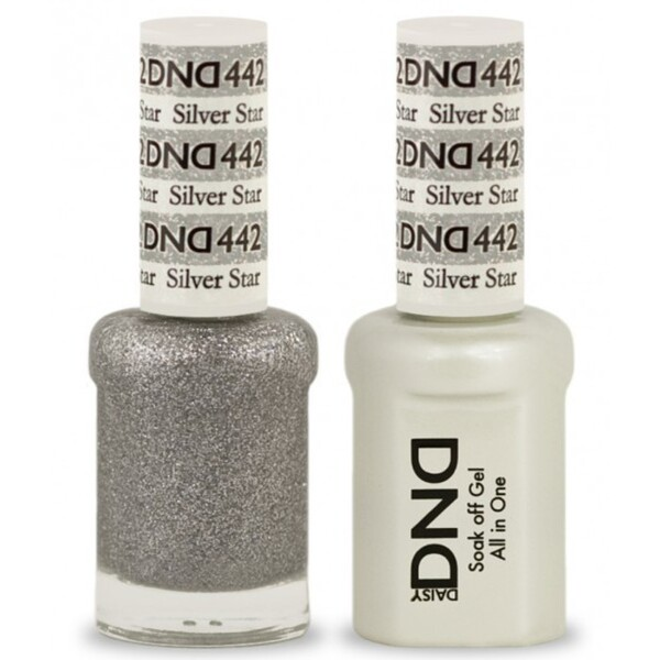DND Duo GEL Pack - SILVER STAR 1 Gel Polish 0.47 oz. + 1 Lacquer 0.47 oz. in Matching Color (DND-G442)