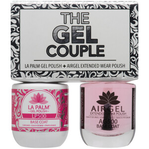 The Gel Couple - BASE COAT - La Palm Gel Polish 0.5 oz. + Airgel - Air Dry Extended Wear Polish 0.5 oz. by La Palm (LP500)
