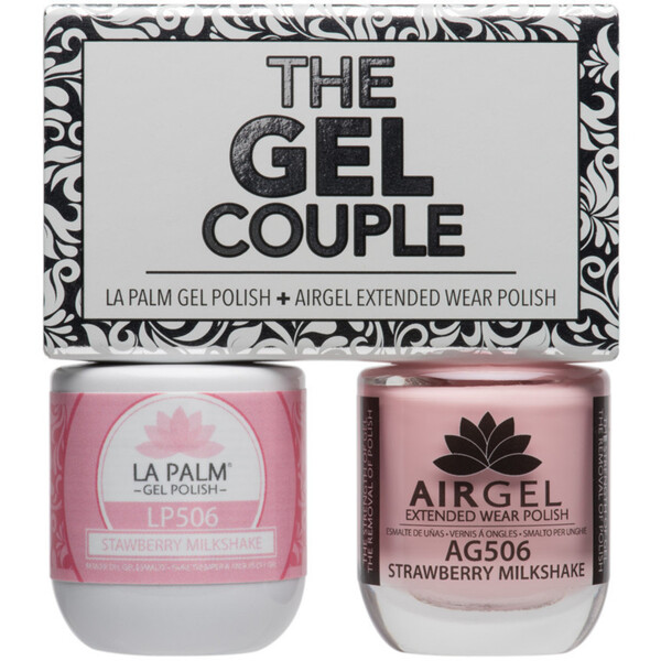 The Gel Couple - STRAWBERRY MILKSHAKE - La Palm Gel Polish 0.5 oz. + Airgel - Air Dry Extended Wear Polish 0.5 oz. by La Palm (LP506)