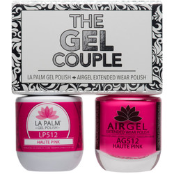The Gel Couple - HAUTE PINK - La Palm Gel Polish 0.5 oz. + Airgel - Air Dry Extended Wear Polish 0.5 oz. by La Palm (LP512)
