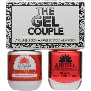 The Gel Couple - MANDARIN ORANGE - La Palm Gel Polish 0.5 oz. + Airgel - Air Dry Extended Wear Polish 0.5 oz. by La Palm (LP515)