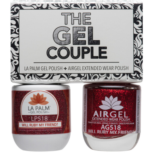 The Gel Couple - WILL RUBY MY FRIEND - La Palm Gel Polish 0.5 oz. + Airgel - Air Dry Extended Wear Polish 0.5 oz. by La Palm (LP518)