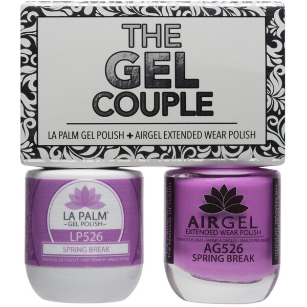 The Gel Couple - SPRING BREAK - La Palm Gel Polish 0.5 oz. + Airgel - Air Dry Extended Wear Polish 0.5 oz. by La Palm (LP526)